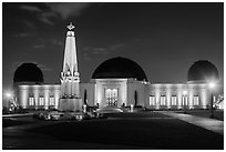 Griffith Observatory at night. Los Angeles, California, USA ( black and white)