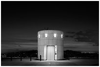 Elevator tower at night, Griffith Observatory. Los Angeles, California, USA ( black and white)