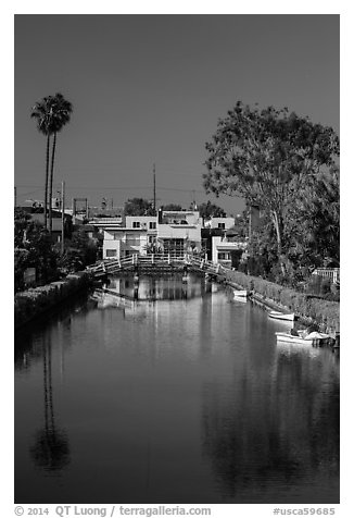 Brightly painted houses along canal. Venice, Los Angeles, California, USA (black and white)