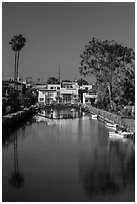 Brightly painted houses along canal. Venice, Los Angeles, California, USA ( black and white)