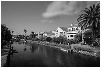Residences, Venice Canal Historic District. Venice, Los Angeles, California, USA ( black and white)