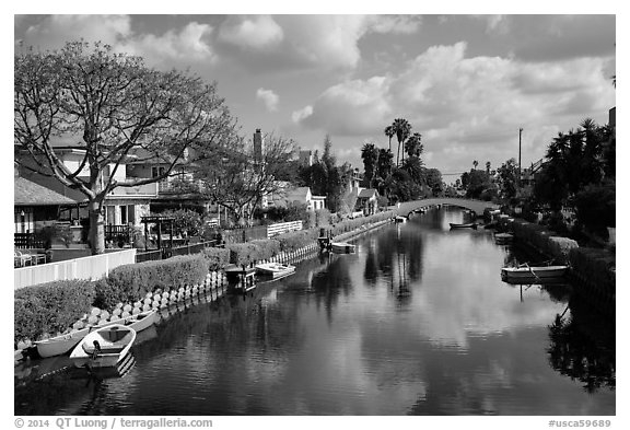 Venice Canal Historic District. Venice, Los Angeles, California, USA (black and white)