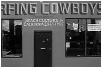 Surfing Cowboys storefront. Venice, Los Angeles, California, USA ( black and white)