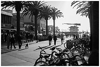 Plaza next to pier in late afternoon, Hermosa Beach. Los Angeles, California, USA ( black and white)