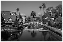 Bridge spanning canals. Venice, Los Angeles, California, USA ( black and white)