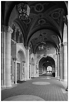 Gallery in Romanesque Revival style original building, UCLA, Westwood. Los Angeles, California, USA ( black and white)