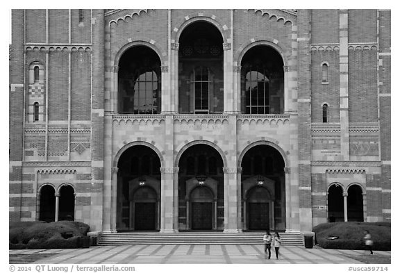 Facade of Royce Hall, University of California at Los Angeles, Westwood. Los Angeles, California, USA (black and white)