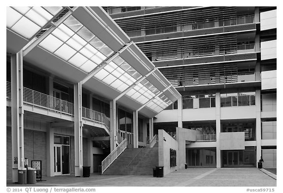 Modern buildings, University of California at Los Angeles, Westwood. Los Angeles, California, USA (black and white)