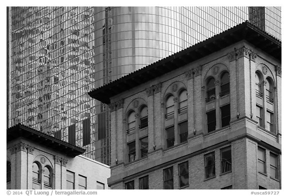 Stone and glass buildings in downtown. Los Angeles, California, USA (black and white)