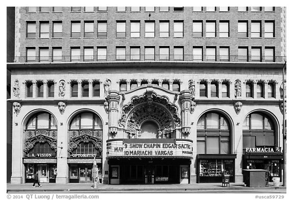 Downtown facade with historic theater. Los Angeles, California, USA (black and white)