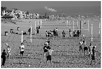 Beach Volleyball class, Manhattan Beach. Los Angeles, California, USA ( black and white)