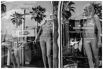 Beachwear in storefront, Manhattan Beach. Los Angeles, California, USA ( black and white)