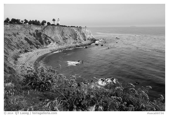Point Vicente Lighthouse. Los Angeles, California, USA (black and white)