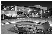 Aquarium of the Pacific facade at night. Long Beach, Los Angeles, California, USA ( black and white)