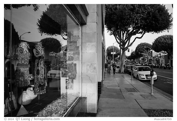 Storefront and downtown street. Santa Monica, Los Angeles, California, USA (black and white)