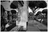 Storefront and downtown street. Santa Monica, Los Angeles, California, USA ( black and white)
