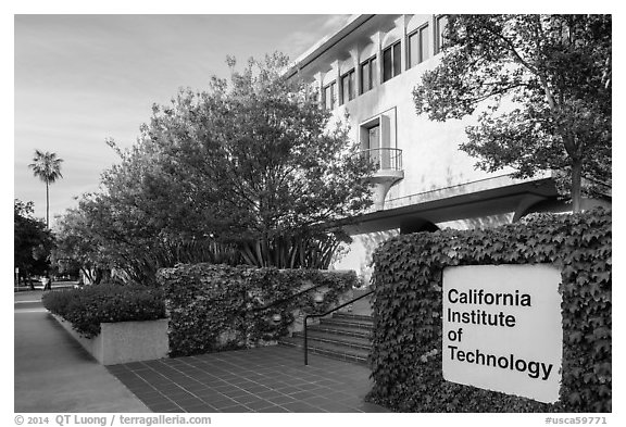 California Institute of Technology campus with sign. Pasadena, Los Angeles, California, USA (black and white)