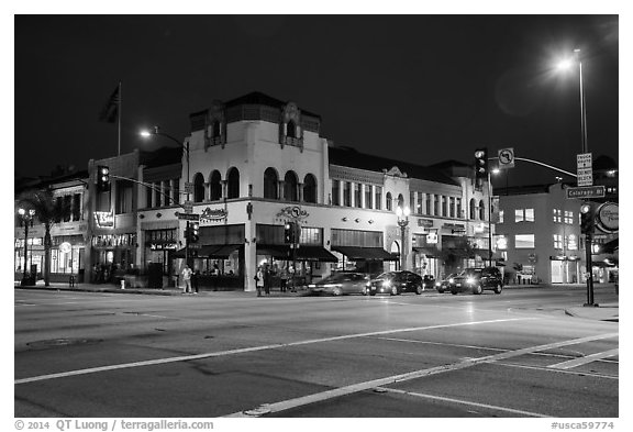 Downtown at night. Pasadena, Los Angeles, California, USA (black and white)