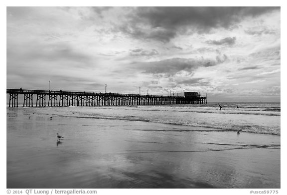 Newport Pier and clouds. Newport Beach, Orange County, California, USA (black and white)
