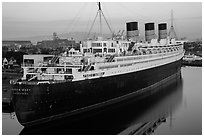 View of Queen Mary from above. Long Beach, Los Angeles, California, USA ( black and white)