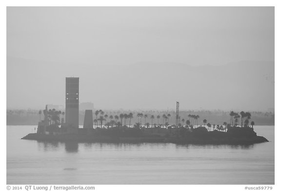 Islet at sunrise in harbor. Long Beach, Los Angeles, California, USA (black and white)
