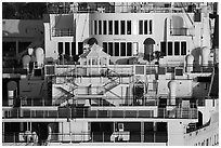 Detail of Queen Mary stern. Long Beach, Los Angeles, California, USA ( black and white)
