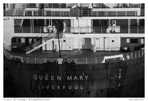 RMS Queen Mary stern. Long Beach, Los Angeles, California, USA (black and white)