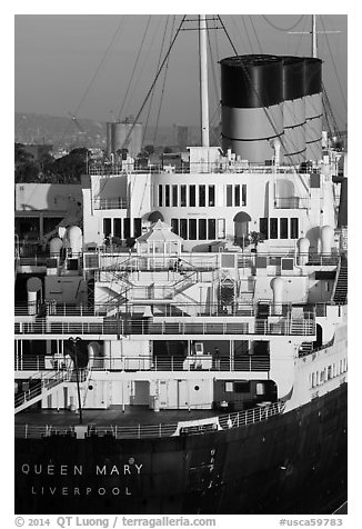 Queen Mary stern and smokestacks at sunrise. Long Beach, Los Angeles, California, USA (black and white)