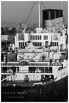 Queen Mary stern and smokestacks at sunrise. Long Beach, Los Angeles, California, USA ( black and white)