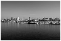 Long Beach skyline and marina. Long Beach, Los Angeles, California, USA ( black and white)