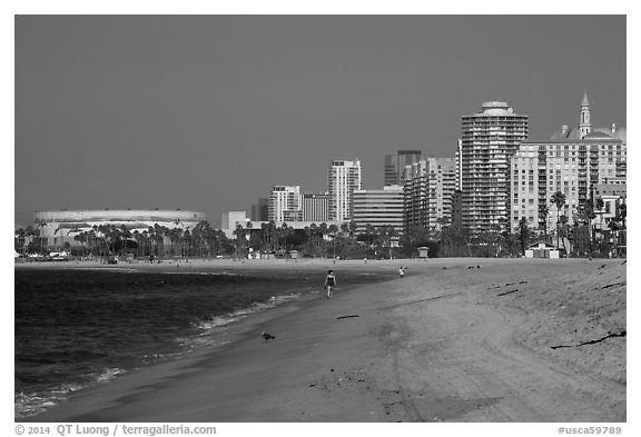 Beach and high-rises. Long Beach, Los Angeles, California, USA (black and white)
