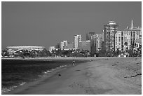 Beach and high-rises. Long Beach, Los Angeles, California, USA ( black and white)