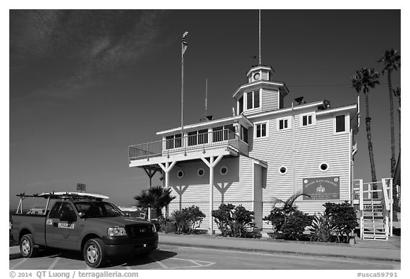 Historic Lifeguard station. Long Beach, Los Angeles, California, USA (black and white)