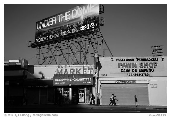 Street with liquor and pawn shops. Hollywood, Los Angeles, California, USA (black and white)