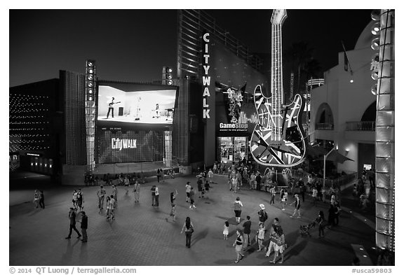 Universal Citywalk at night. Universal City, Los Angeles, California, USA (black and white)