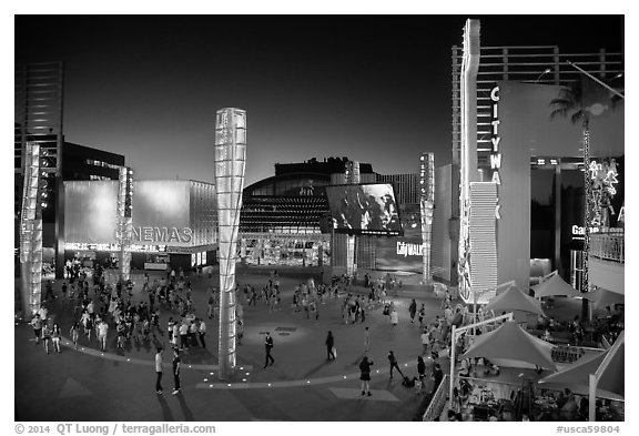 Universal Citywalk entertainment and retail districts at night. Universal City, Los Angeles, California, USA (black and white)