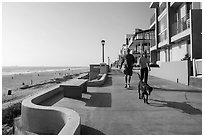 Couple walking dog on beachfront promenade, Manhattan Beach. Los Angeles, California, USA ( black and white)