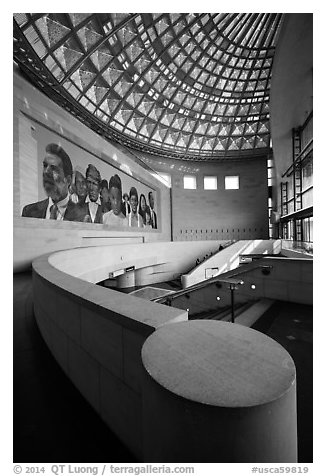 East lobby of Union Station. Los Angeles, California, USA (black and white)