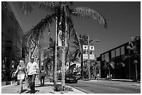 Shoppers walk on Rodeo Drive. Beverly Hills, Los Angeles, California, USA ( black and white)