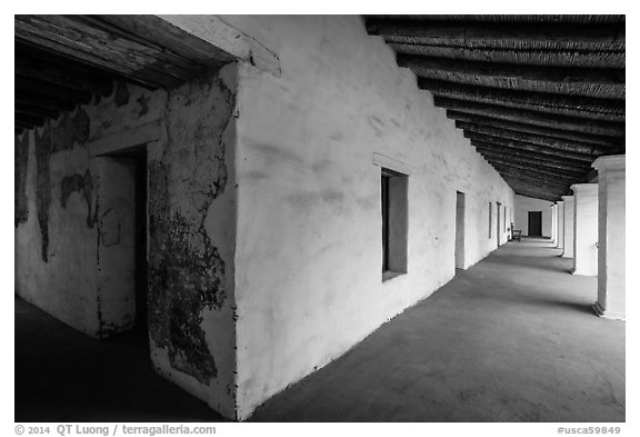 Galleries, El Presidio de Santa Barbara. Santa Barbara, California, USA (black and white)