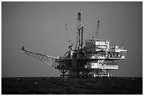 Offshore oil rig. California, USA ( black and white)