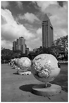 Globes, embarcadero. San Diego, California, USA ( black and white)