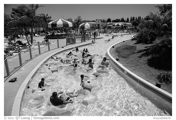 Floating in waterpark, Legoland, Carlsbad. California, USA (black and white)