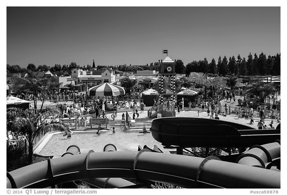 Legoland Waterpark from the top, Carlsbad. California, USA (black and white)