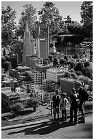 Familly looks at San Francisco built from legos, Legoland, Carlsbad. California, USA ( black and white)
