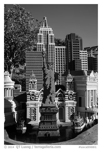 Las Vegas New York New York scale model, Legoland, Carlsbad. California, USA (black and white)