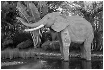 Life-size elephant, Legoland, Carlsbad. California, USA ( black and white)