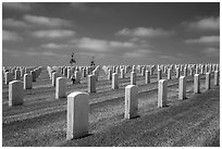 Gravestones, Fort Rosecrans National Cemetary. San Diego, California, USA ( black and white)