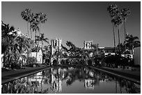Casa de Balboa and House of Hospitality reflected in lily pond. San Diego, California, USA ( black and white)