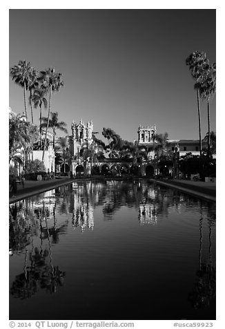 House of Hospitality and Casa de Balboa reflected in lily pond. San Diego, California, USA (black and white)